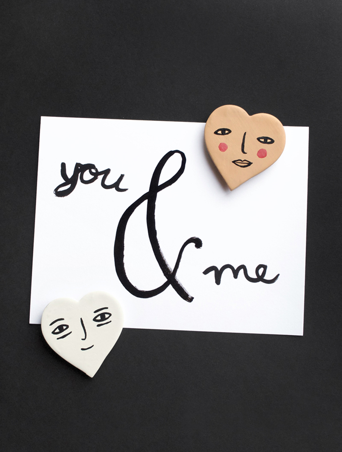 MerMagClayHeartFaceMagnets1