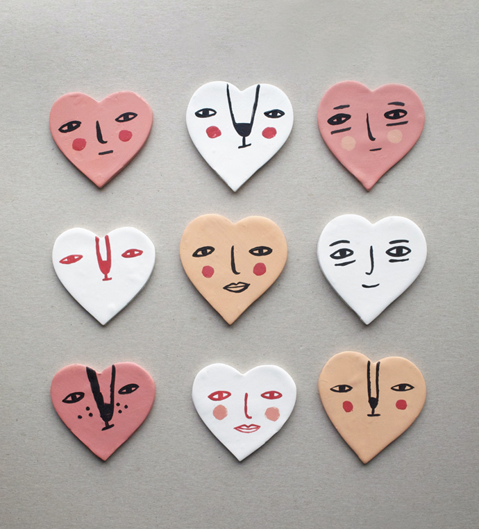 MerMagClayHeartFaceMagnets2
