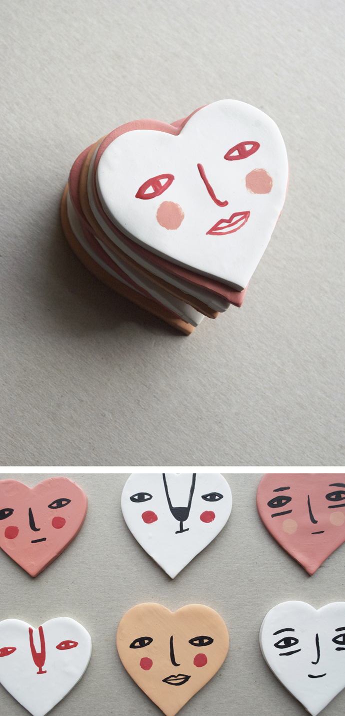 MerMagClayHeartFaceMagnets4