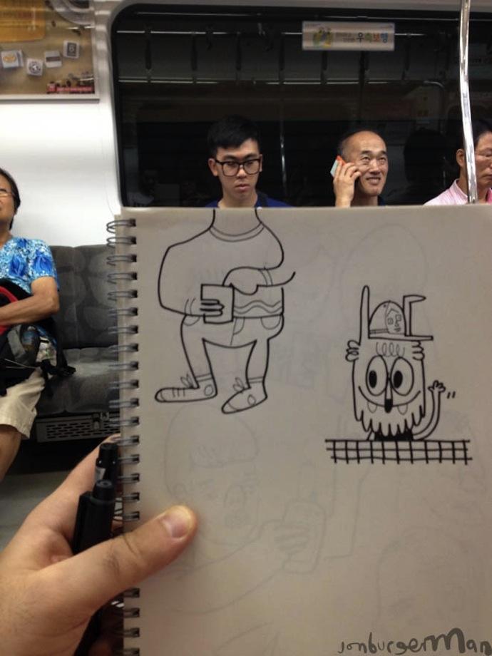 jon burgerman subway cartoons illustration fun