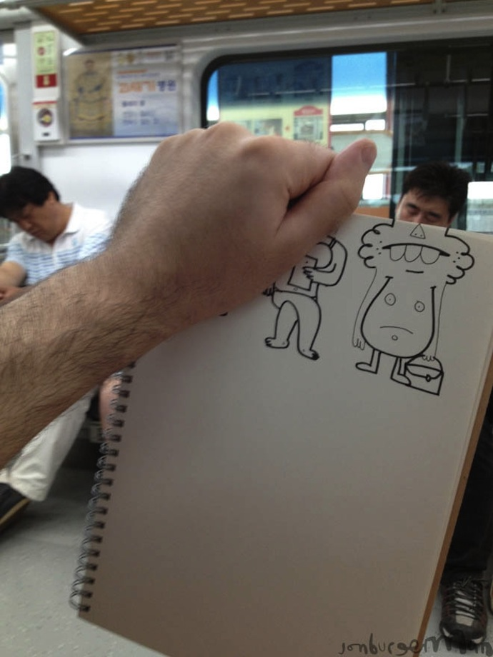 jon burgerman subway cartoons illustration lol