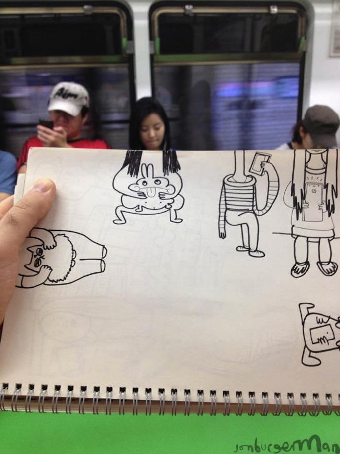 jon burgerman subway cartoons illustration photo