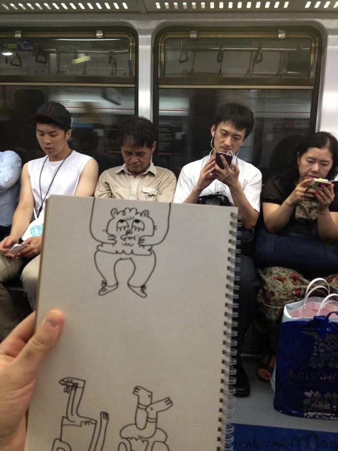 jon burgerman subway cartoons illustration