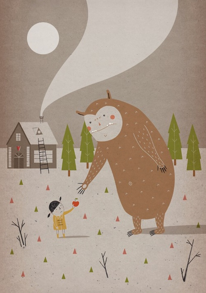 stefania manzi illustration monster loves apples