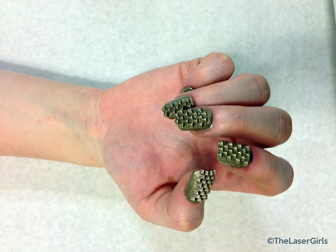 the laser girls 3d printed nails green