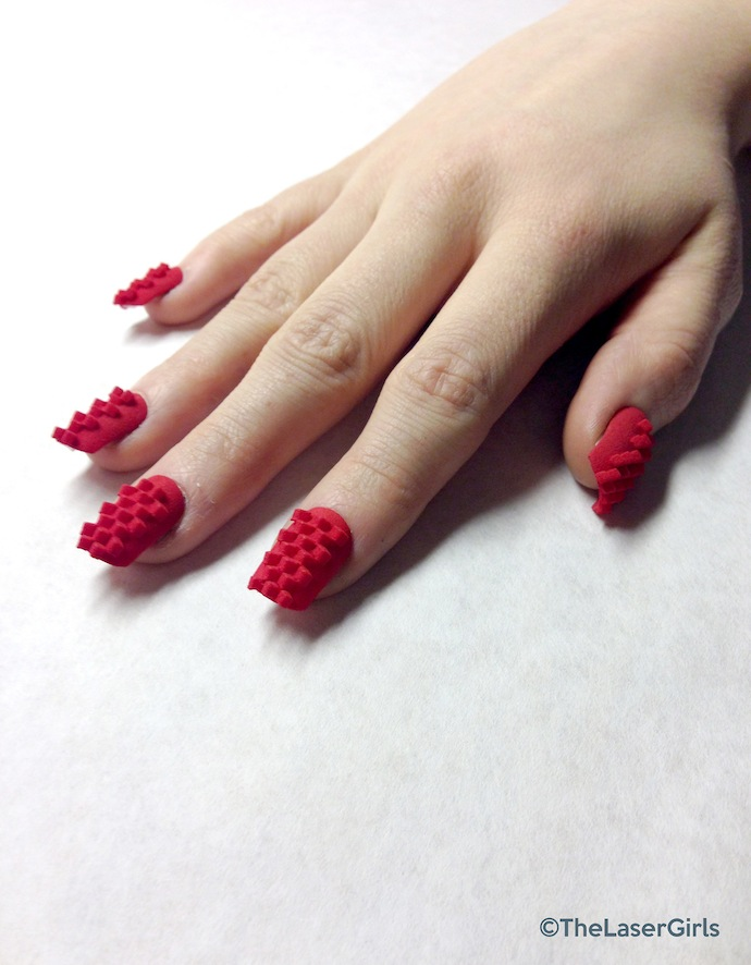 the laser girls 3d printed nails red