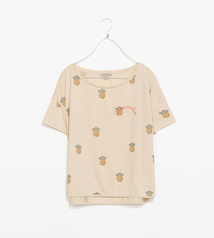pineapple-print-crop-t-shirt