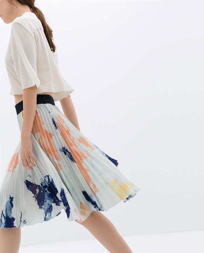 pleated-print-skirt