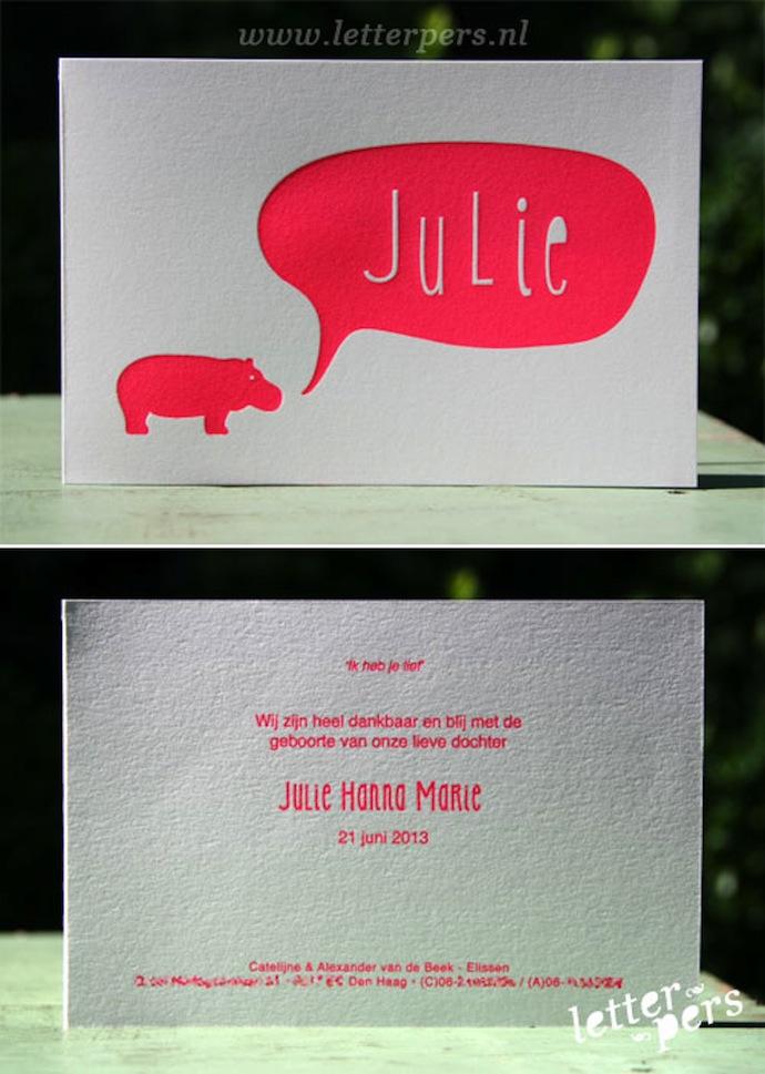 letterpers_letterpress_geboortekaartje_Julie_roze_nijlpaard_fluor_neon