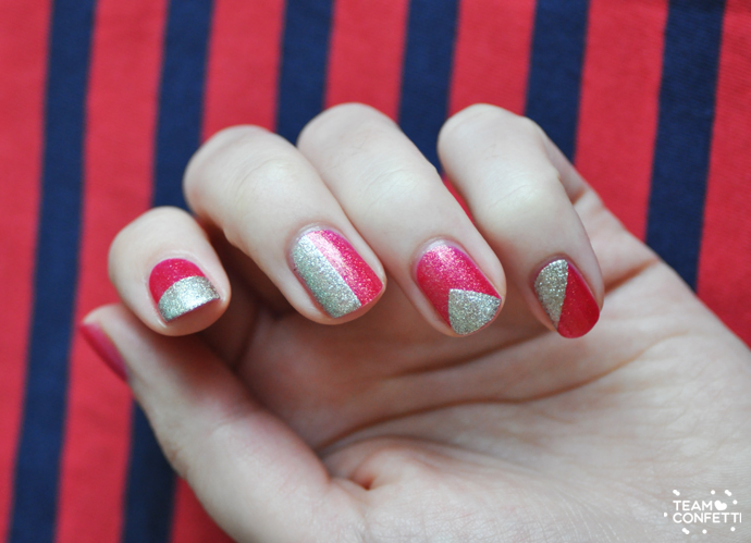nailart pink glitter