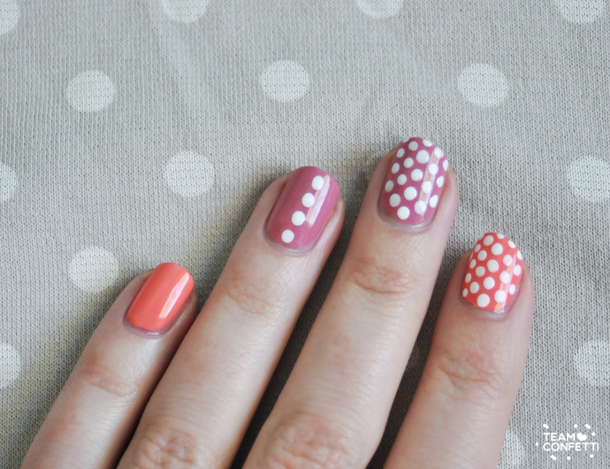 polka dot nails pink