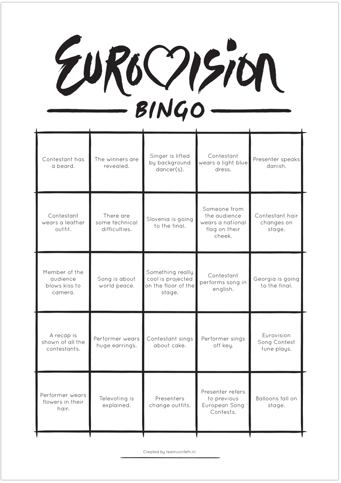 eurovision bingo second semi finale 2014-7