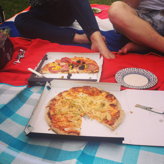 pizza in het park