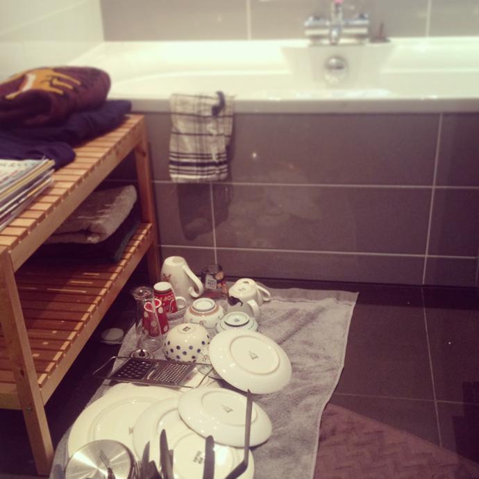 afwassen in bad