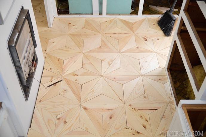 DIY Geometric Triangle Flooring 11