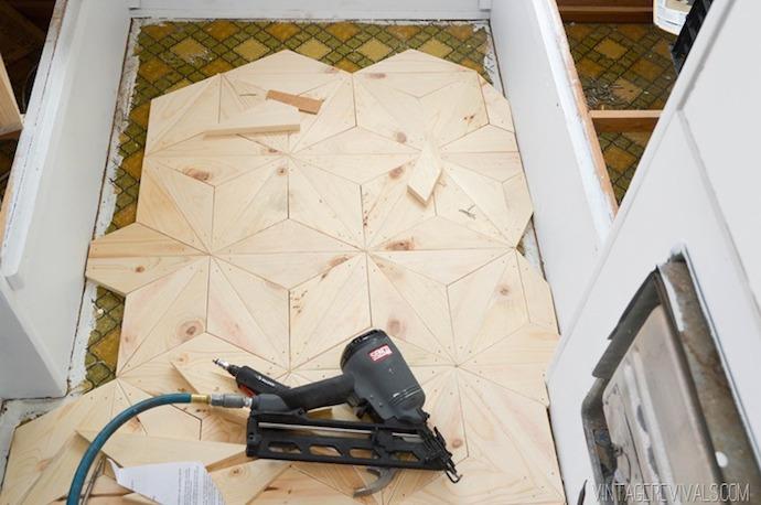 DIY Geometric Triangle Flooring 6