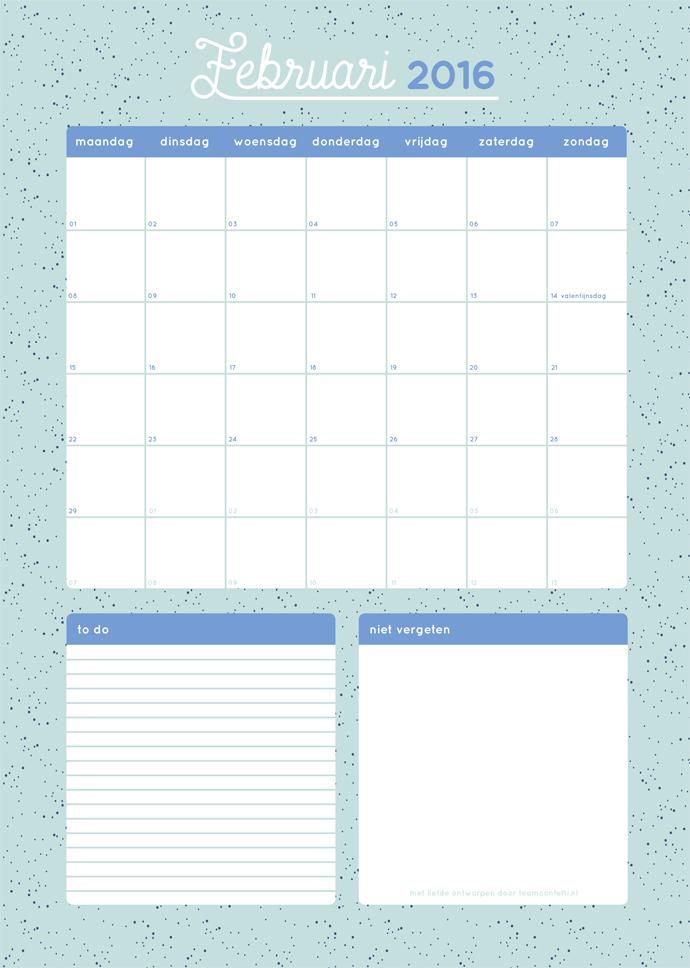 maandplanner februari 2016