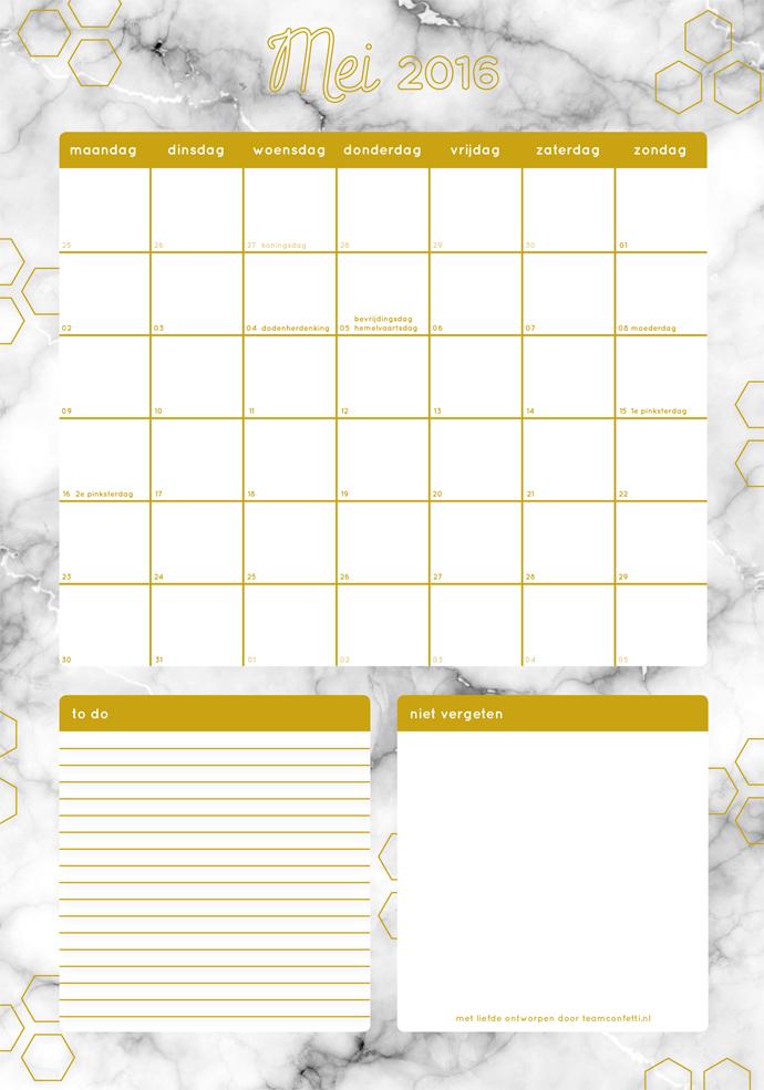 maandplanner mei 2016