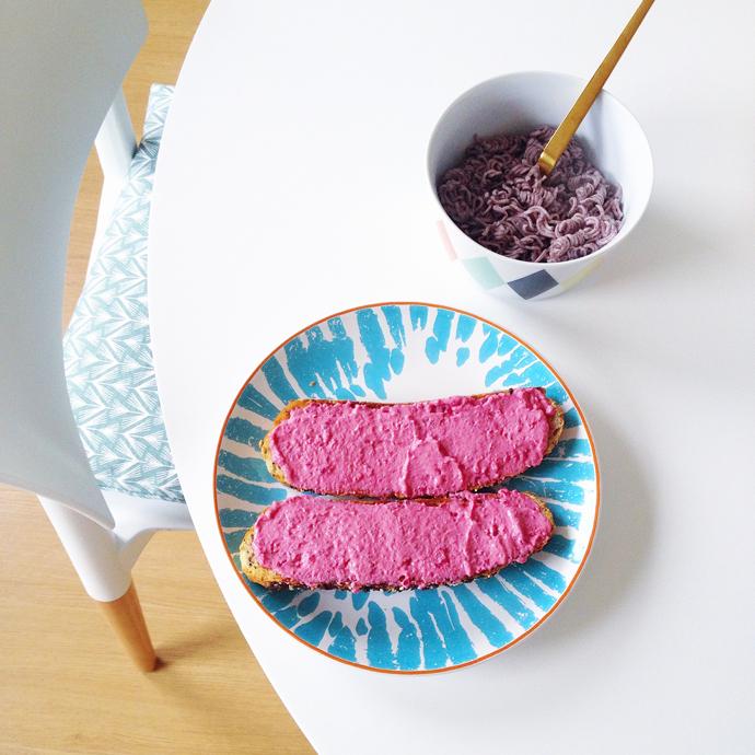 roze en paars lunch