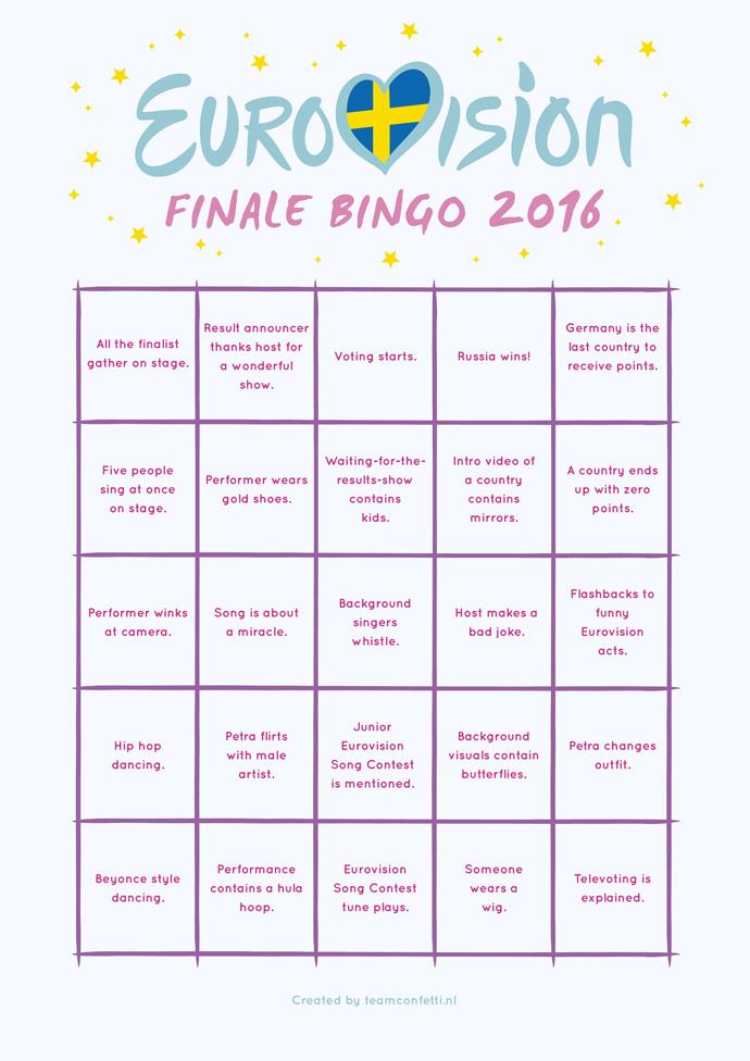 eurovision bingo finale
