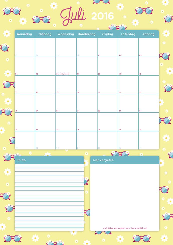 maandplanner juli 2016