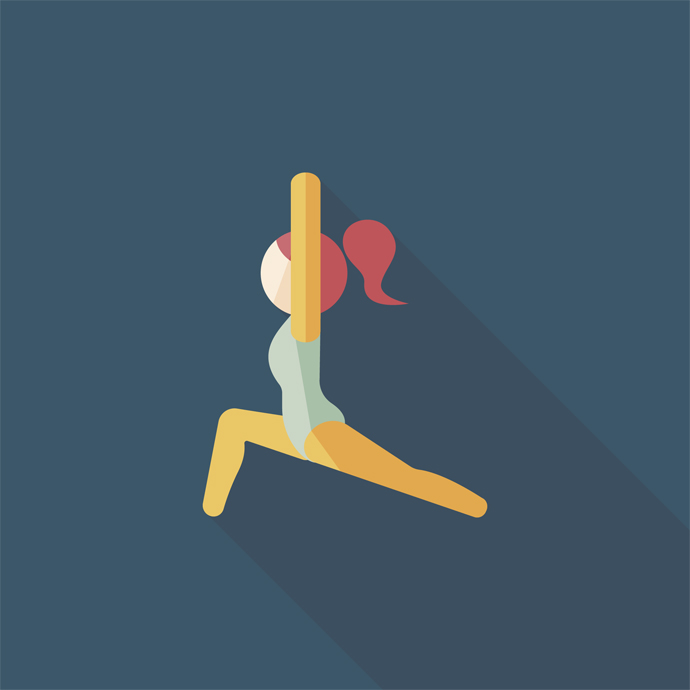 sporty girl flat icon with long shadow,eps10