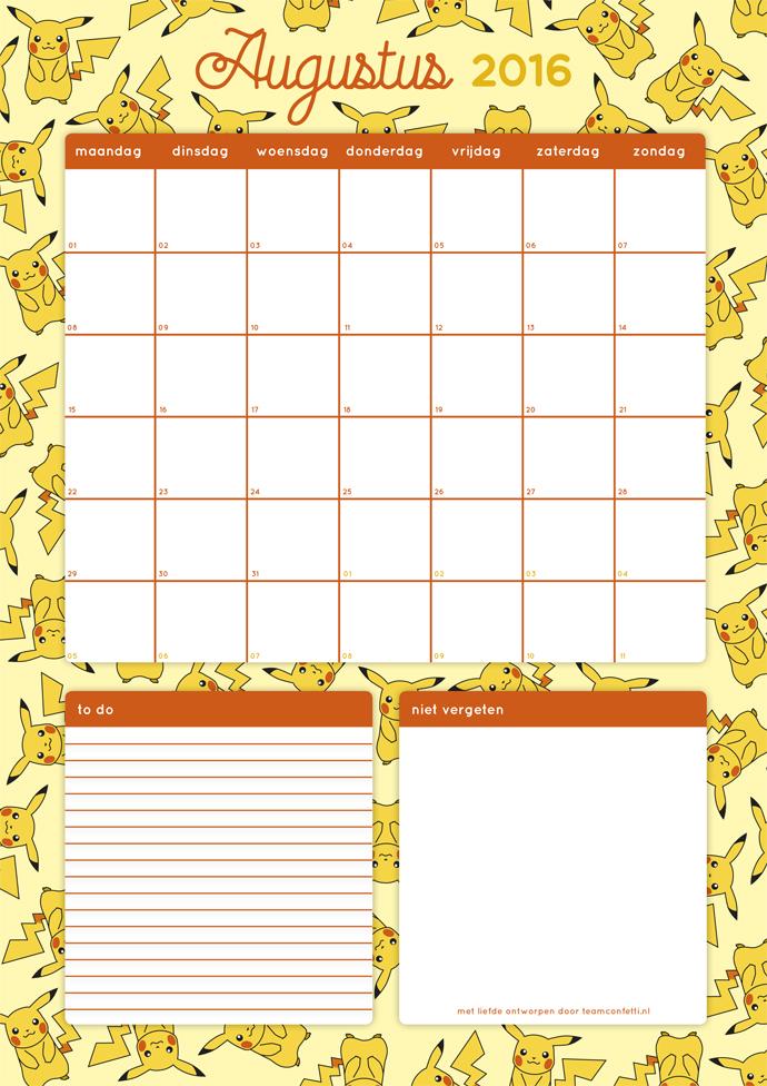 maandplanner augustus 2016