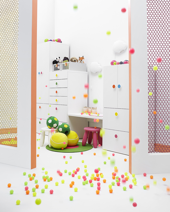 Playful children's storage solution with confetti handles by Ikea.