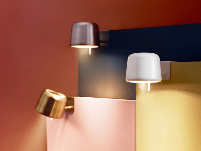 Cute bedside lamps in white, copper and silver by Ikea.