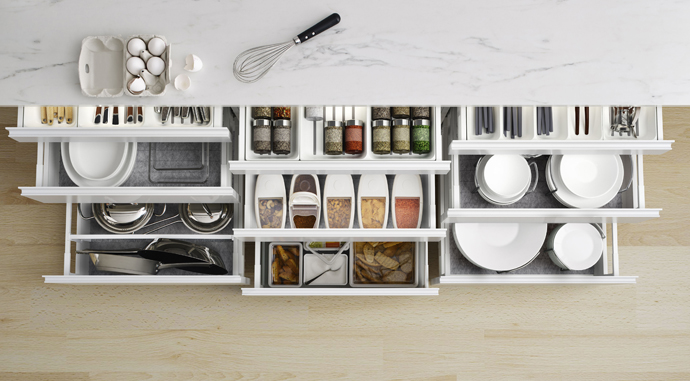 Amazing kitchen storing solutions by Ikea.