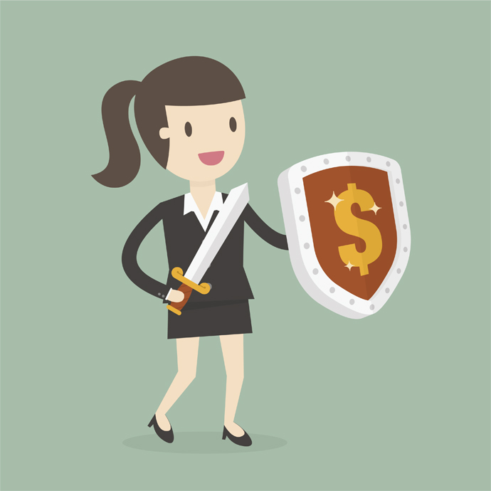 Businessman Carrying a Money Shield And Sword. Business Concept Cartoon Illustration.