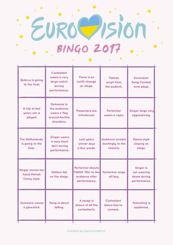 eurovision bingo 2nd semi final bingo 2017-1
