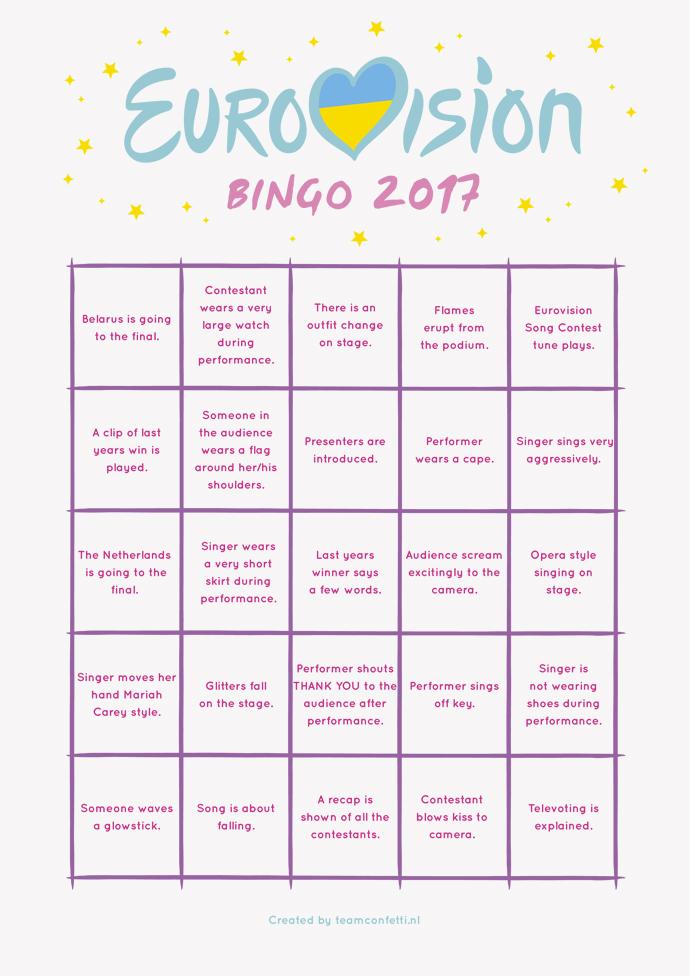 New Eurovision bingo 2017 (2nd semi final) | Team Confetti &CD32