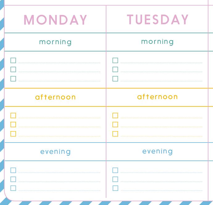 team confetti weekly planner lege dag